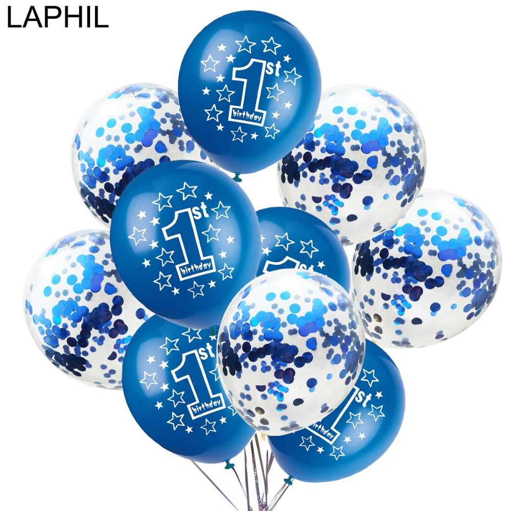 LAPHIL Baby Shower 10pcs Blue Pink Latex Balloon Baby First Birthday Party Decoration Kids Confetti Air Ballon 1st Party Supplie