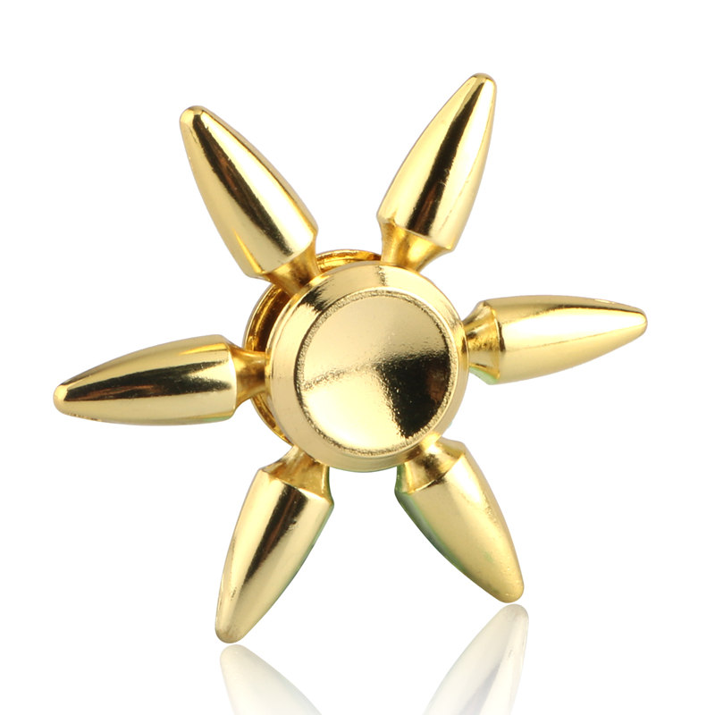 Six Bullet In Gold Fidget Spinner EDC Hand Spinners Autism ADHD Kids Christmas Gifts Metal Finger Toys Spinners