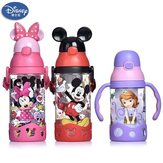 500ml Disney princess mickey children water cup with straw Lanyard bottle primary school boy girl baby portable water kettle