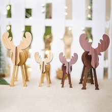 ZOTOONE Christmas Wooden Deer Pendants Ornaments Kid Gift for Party Decoration DIY Xmas Tree