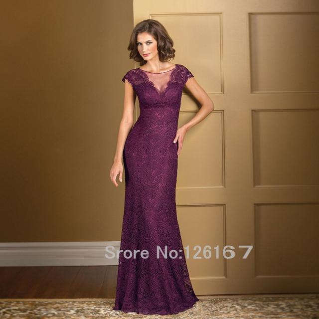 Madre de la novia vestidos de encaje de 2017 Mangas Casquillo Púrpura vaina Larga Piso-Longitud de la mujer madre de la novia vestido de encaje CGM001