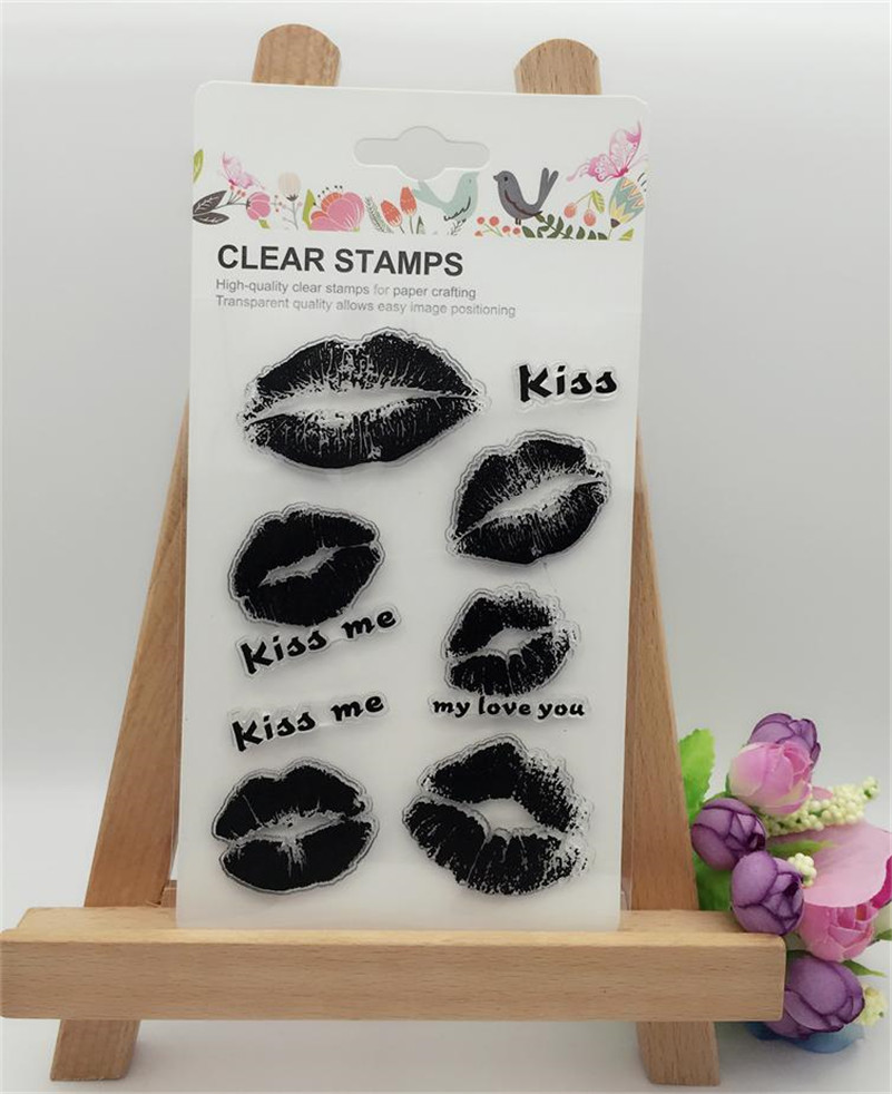 Rubber stamps for crafting -  Big And Small Kiss Lip Print Diy Transparent Clear Rubber Stamp Seal Photo Album Diary Scrapbooking Paper Card Yfs047