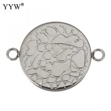 silver 10pcs/Lot Stainless Steel Connector Setting Round Double Loop Cabochon Base Cameo Bezel 2mm mibrow 10pcs lot stainless steel 8 10 12 14 16 18 20mm blank french lever earring tray cabochon setting cameo base jewelry