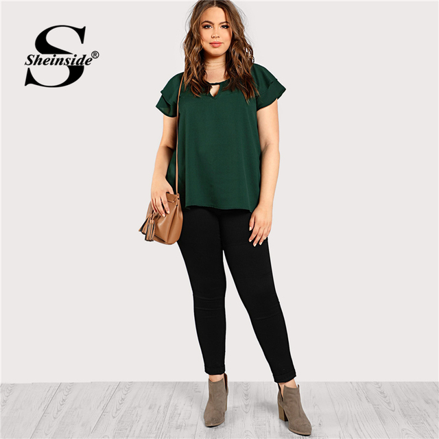 Sheinside Green Plus Size Keyhole Neck Loose Top Long Blouse With Butterfly Sleeve Summer Tops for Women 2019 Cap Sleeve Blouses 4