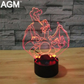 NUEVO Pokemon Ir Charizard 7 Color 3D Lámpara de Mega Night Lights 3D Táctil USB lámpara de Mesa 3D Pikachu Visual Nocturna Para Niños regalos