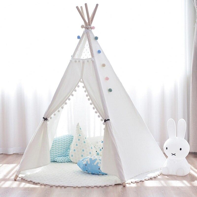 Двор белый/розовый дети играют весело дом кровать дети палатка портативный складной палатки вигвама для детей Крытый игрушечные лошадки