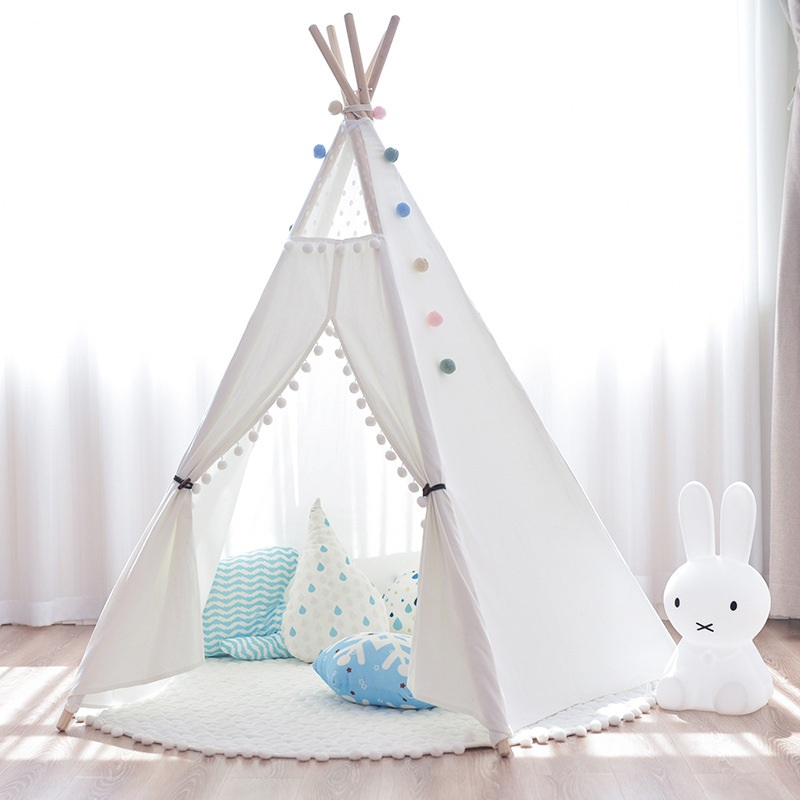YARD White/Pink Children Play Fun House Bed Kids Tent Portable Folding Tents Teepee for Children Indoor Toys Playhouse Room