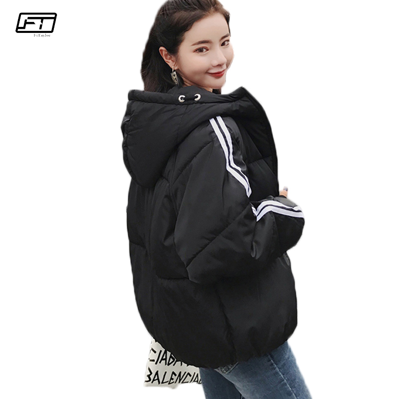 Fitaylor Winter Jacket Women Black Cotton Padded Short Coat Plus Size Print Striped Casual Harajuku Hooded   Parka   Mujer Coats