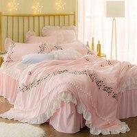 Зимние толстые флисовые Розовый Белый Принцесса Дизайнер постельного белья queen King size девушки ПОСТЕЛИ пододеяльник кровать комплект с юбкой