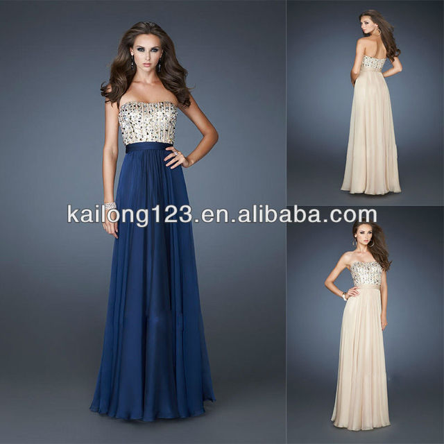 de8de4a9e0b0 Modest Sweetheart Beaded Bodice Flowy A-line Skirt Floor-length Navy Nude Chiffon  Back Zipper Evening Gown