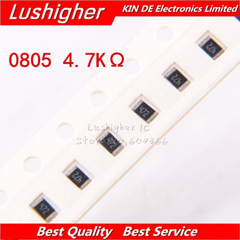 100PCS 0805 SMD Resistor 5% 4.7K Ohm 472 4701 4.7Kohm 4700ohm
