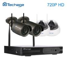 Techage 4CH Sans Fil NVR de Sécurité CCTV Système 720 P 1.0MP Wifi Dôme Intérieur Caméra IP Extérieure P2P Surveillance Kit Motion détecter