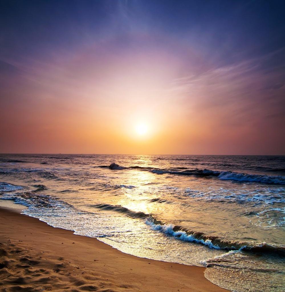Beach Sunset Scenic Photography Background Printed Summer Wedding Photo Studio Backdrop Seaside Picture Shooting Vinyl Back Drop seaside starry sky background 5 7ft vinyl fabric cloth цифровая печать photo studio backdrop s 3055