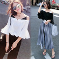 2017 New Summer Women Fashion Two Piece Sets Sexy Off Shoulder Hlaf Sleeve Chiffons Shirt And Wid Leg Pants Suit  C565