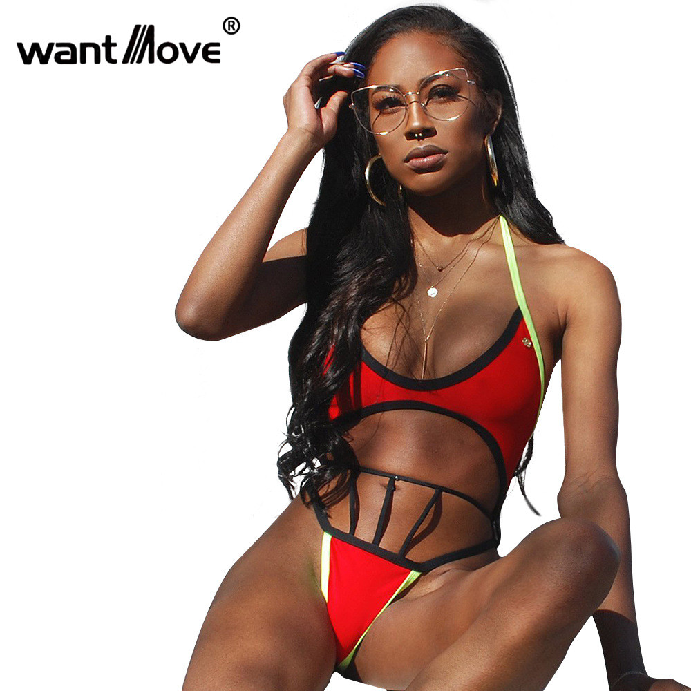 Smart Wantmove Womens Summer Bandage One Piece Floral Printed Swimwear Sexy Tight Stretchy Cut Out Lace Up Halter Beach Swimsuit Wm268 Women's Clothing