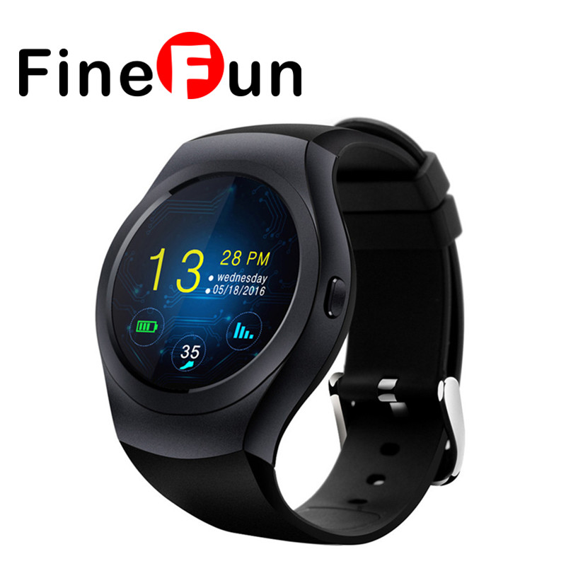 FineFun KS2 Round Bluetooth Smart Watch Phone MTK2502C HD Full Round Touch Screen Support SIM TF Card Smartwatch for IOS Android gv08 1 5 screen ogs touch screen bluetooth v3 0 smart watch phone w camera sim tf card slot