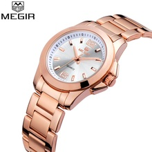 Megir Top Luxury Brand Watches Women Full Stainless Steel Gold Quartz Watch Fashion Ladies Dress Wristwatch Silver Womens Clock