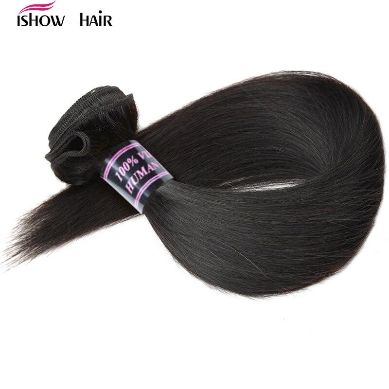Ishow Brésiliens Cheveux Raides Weave Bundles 100% de Cheveux Humains Bundles 1 pc naturel Non Remy Cheveux Extensions 3 ou 4 Bundles Peut Acheter