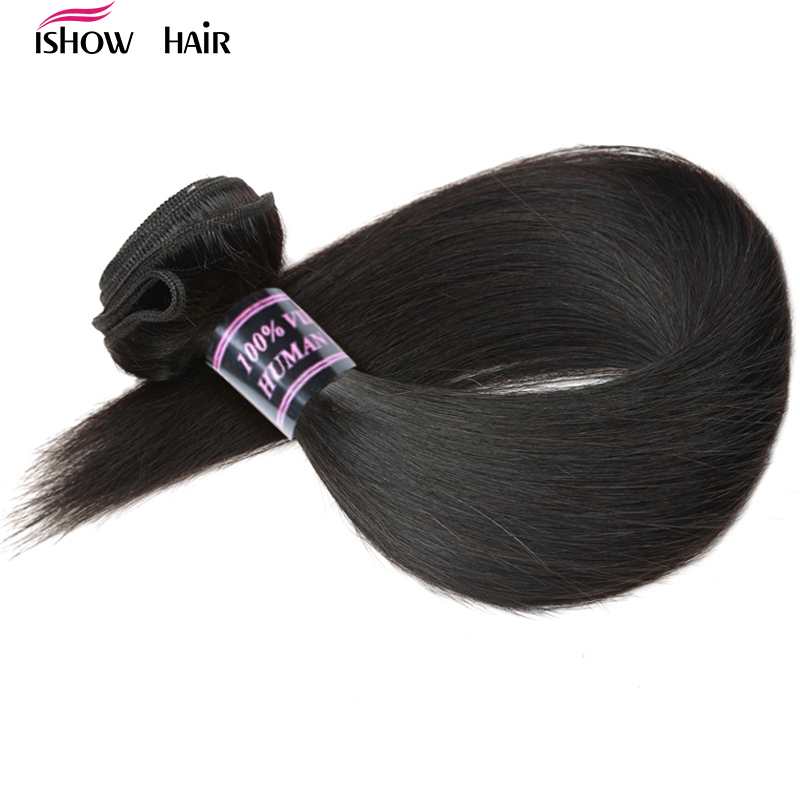 Ishow Brazilian Straight Hair Weave Bundles 100% Human Hair Bundles 1pc Natural Non Remy Hair Extensions 3 or 4 Bundles Can Buy