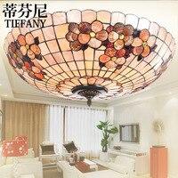 16 дюймов Tiffany shell Mediterranean Ретро витражный потолочный светильник спальня столовая кабинет лампа 110 В 240