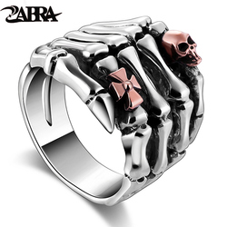 Real 925 Sterling Silver Rings For Men Skull Hand With Skull Head Vintage Punk Rock Gothic Bague Paw Rings Fashion Fine Jewelry