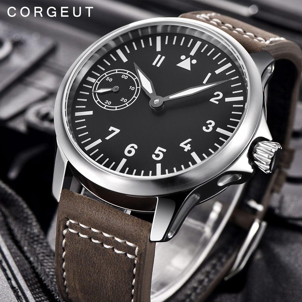 Luxe top merk Corgeut Mechanische Horloge mannen 17 Juwelen Seagull 6497 Hand Winding Mechanische Horloges lichtgevende Mannen horloges-in Mechanische Horloges van Horloges op  Groep 1