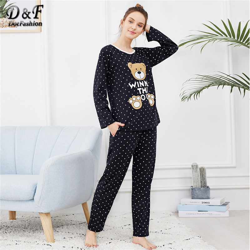 Dotfashion Black Bear Print Polka Dot   Pajamas   For Women Autumn Clothes 2019 Casual Long Sleeve Nightwear Cartoon   Pajama     Sets