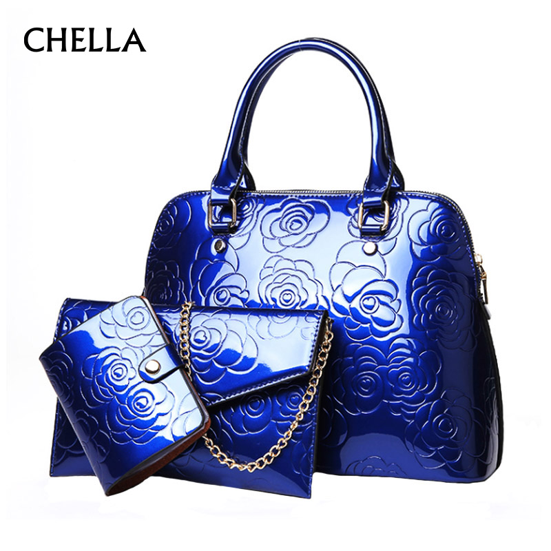 3 Pcs Women Composite Bags PU Leather Floral Female Handbag Designer Fashion Ladies Purse Clutch Messenger Bag Tote Bolsa SS0339 fashion women chain messenger bag female envelope bags clutch purse bag ladies pu leather satchel shoulder handbag