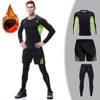 Men Cashmere Thick Velvet Long Johns Winter Fitness Gymming Sporting Runs Top +Tight+Shorts Legging Pants Thermal Underwear Sets