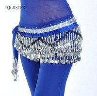 New Women Belly Dance Costume Hip Scarf Wrap Sequins Belt 258 Coin Chiffon Skirt Hot Free