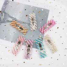 ncmama Hair Accessories Shiny Beads Clips for Women Girls Korean Geometric Jewelry Hairgrips Silver Pins Barrettes