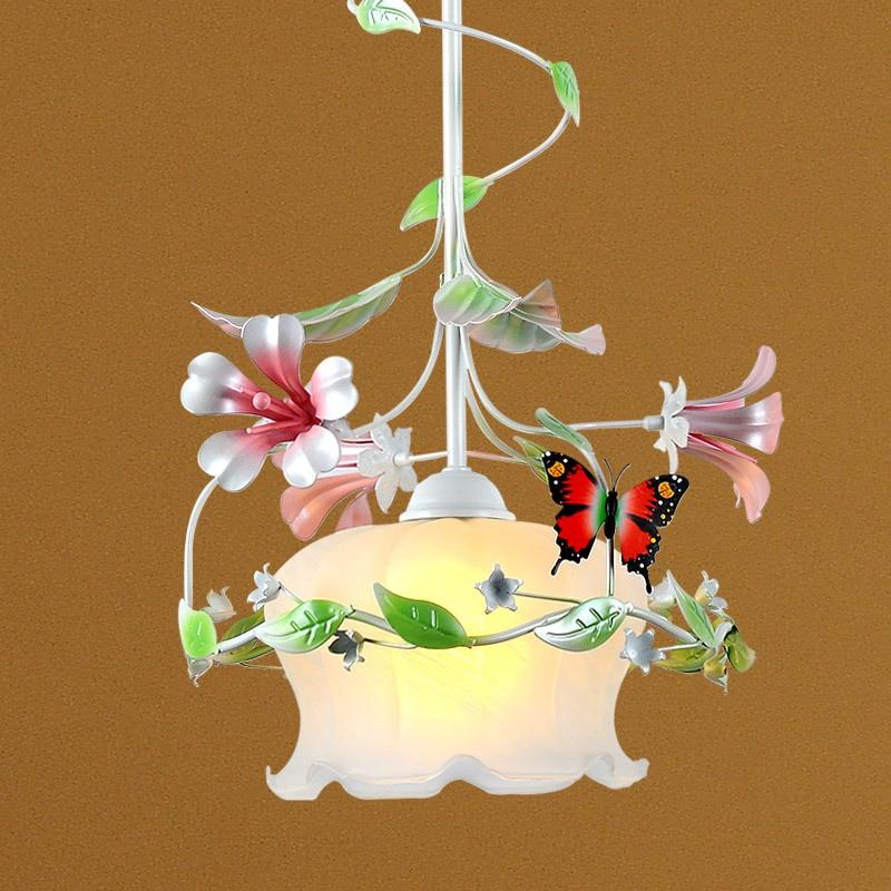 LED Ceramic rose Pendant Lights Pastoral style Pendant Lamp living room bedroom lamp iron flower grass lamp flower droplight pastoral living room dining room crystal lamp iron pendant lights warm romantic flower bedroom lamp led art lamps pendant lights
