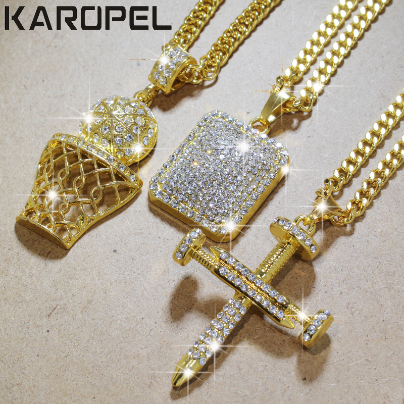Karopel Iced Out Bling CZ Crystal Pendant Golden Basketball Cross Necklace  24 Inch Link Chain Hip 367e91118760