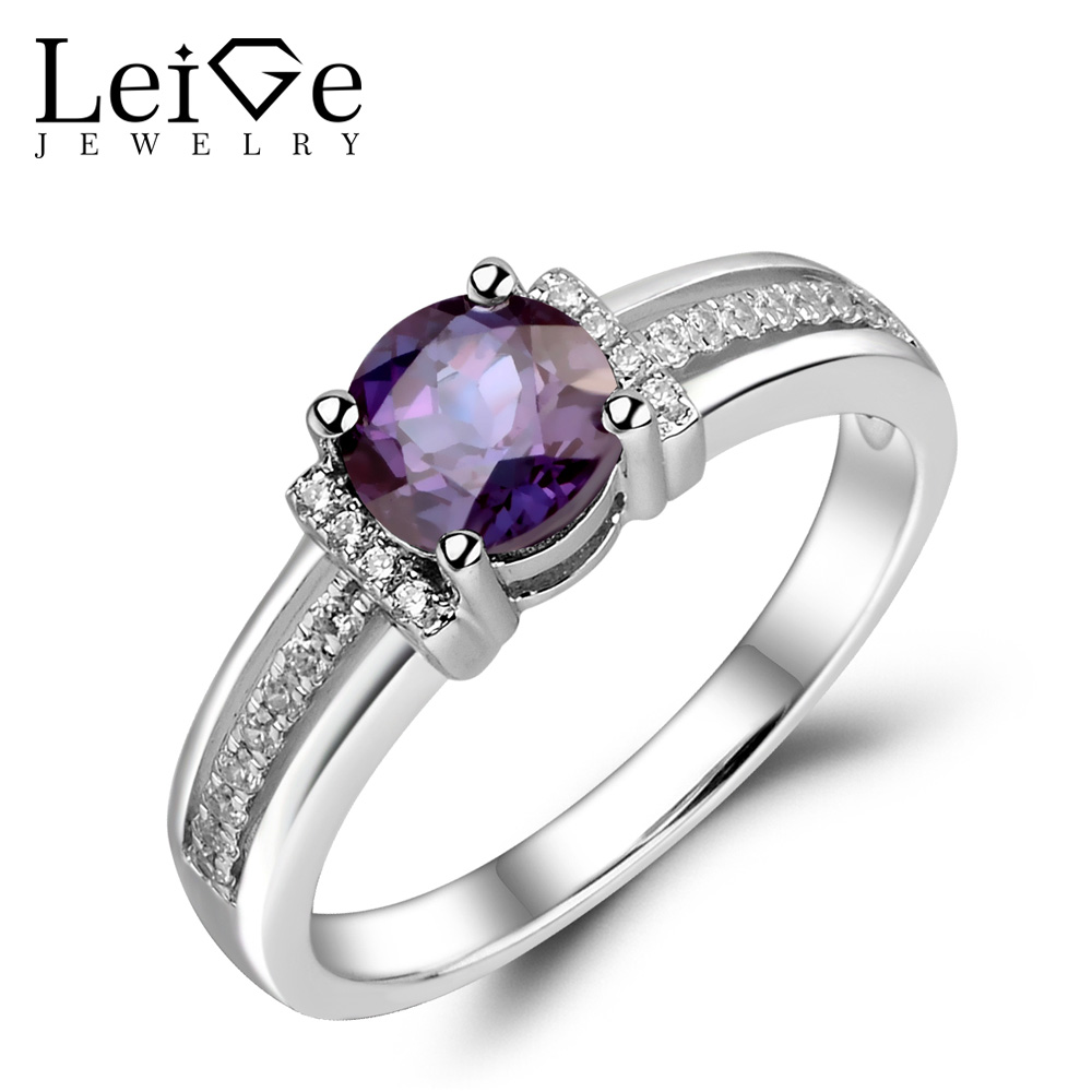 Leige Jewelry Alexandrite Ring 925 Sterling Silver Engagement Promise Rings Round Cut Gemstone Jewelry for Women June Birthstone