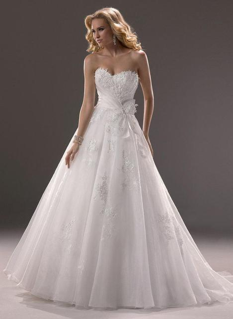 Strapless Sweetheart Lace Appliques Bow Sashes Bodice Corset Open Back Princess Ball Gown Wedding Dress 2014