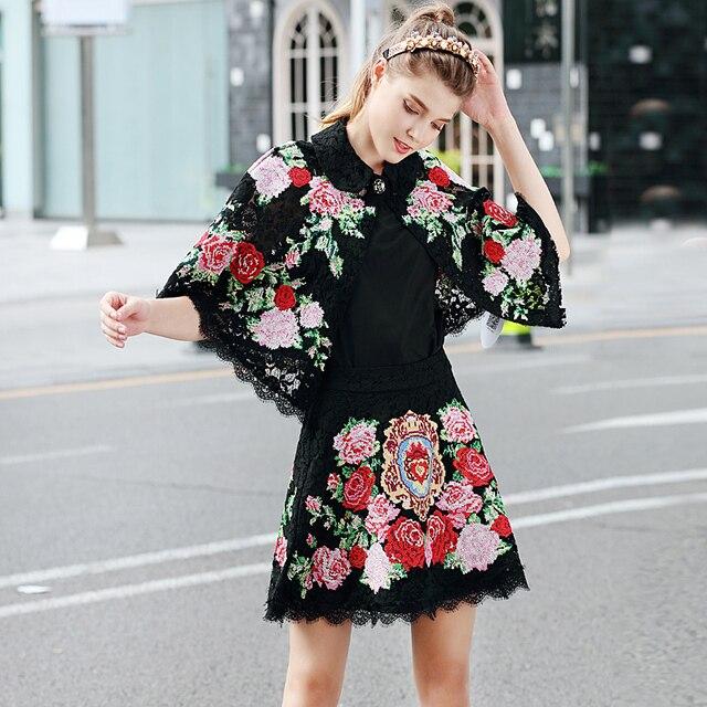 e0ccb7d1c € 53.48 |Nueva pasarela alta calidad 2018 Primavera Verano moda playa  fiesta Vintage elegante bordado flores negro encaje falda conjuntos de  mujer ...