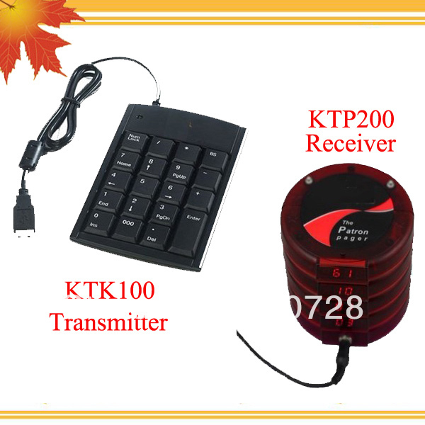 Queue paging system for fast food restaurant W 1pc KTK100 transmitter wireless and 15pcs KTP200 mini receiver DHL free shipping