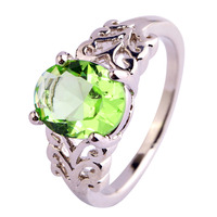 Free Shipping New Arrival Oval Cut Great Green Amethyst 925 Silver Jewelry Ring Size 6 7 8 9 10 11 12 Wholesale For Women Rings