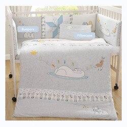 Juegos de cama tejidos de algodón para recién nacidos a prueba de colisiones, protectores de cama para bebés, almohadilla suave transpirable, Sábana de alta calidad, almohada, edredón Unisex
