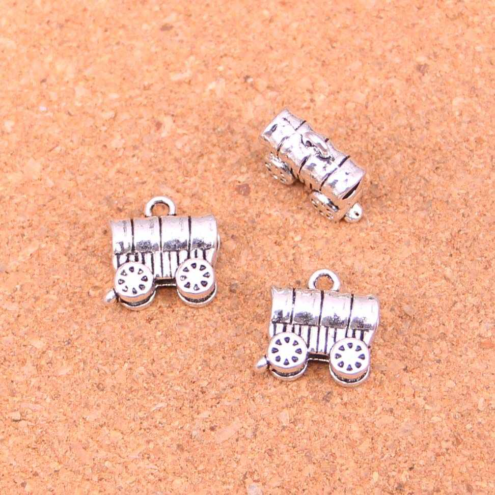 52Pcs Antique Silver Plated stage conestoga wagon Charms Diy Handmade Jewelry Findings Accessories 14*14mm