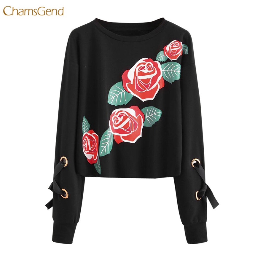 CHAMSGEND Women Hoodies Long Sleeve Lace Up Bow Tie Casual Style Female Black Pullovers Rose Ptinted O-Neck 2018 Tops Sweatshirt
