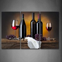 Framed Wall Art Pictures Grape Wine Bottle Cups Canvas Print Food Posters With Wooden Frames For Home Living Room Decor