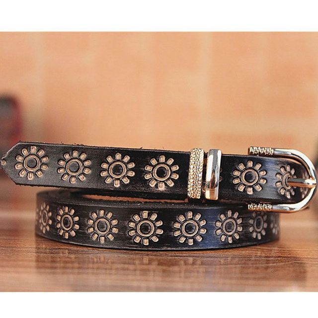 Women Brand Luxury Fashion stretchy Gold Metal Buckle Wide Black Printing Genuine Leather Thin Belts Length 100-120cm Wholesale