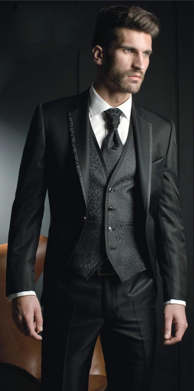 2016 Classic Black Groom Tuxedos Groomsman Men\'s Wedding Prom ...