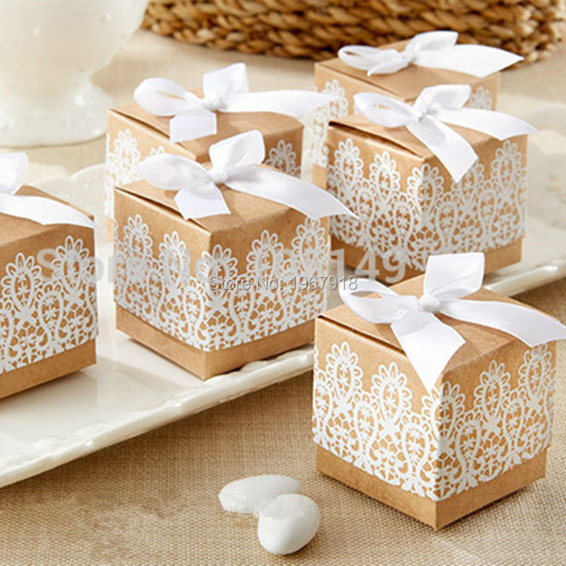 Chic Vintage Kraft Paper Candy Box With White Lace Disign Wedding Souvenirs Party Favors
