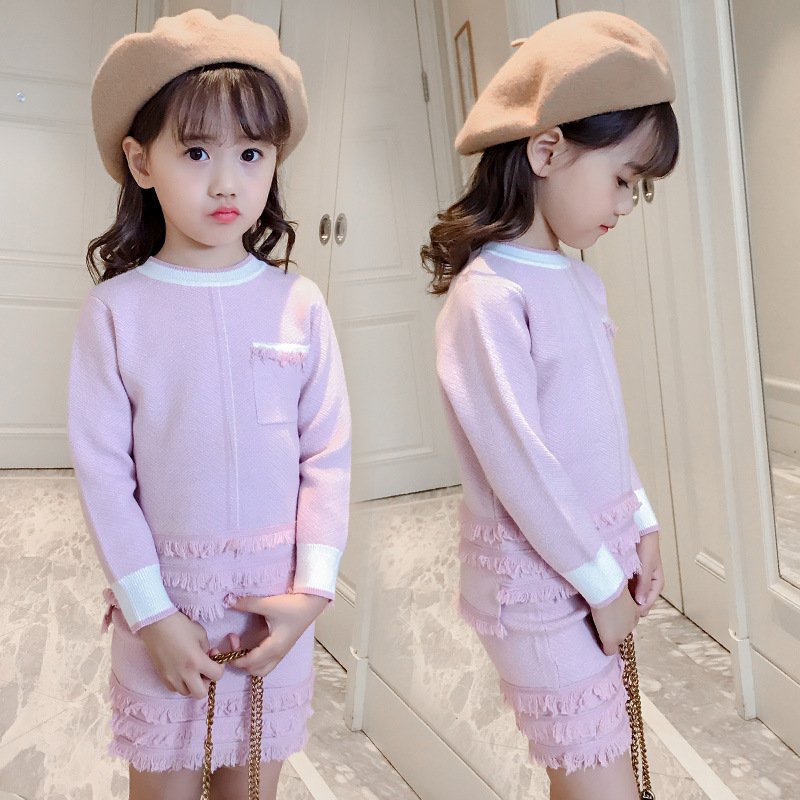 2 Pcs Children Girls Clothing Sets Autumn Teen Girl Suit School Kids Outfits Cotton Tassel Sweater Coat + Skirts Girls Clothes girls autumn clothes children clothing sets print denim coat pu leather jackets for girls dress suit girl outfits kids tracksuit