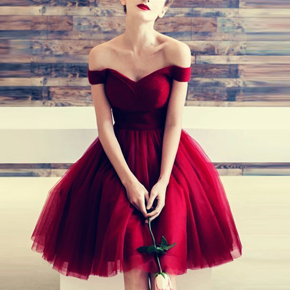 Burgundy Tulle Cocktail Dress Prom Sweetheart Off the Shoulder Short Cheap Prom Dress Formal Party Dress