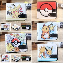 Anime pokemon Pikachu Poke Ball wallet One Piece Law Naruto My Neighbor Totoro Death Note L Button Short purse cosplay cartoon(China)