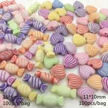 Meideheng acrylic washing color mini Candy bead Fringe love stripe beads for Jewelry making string Bracelet material 100pcs/bag