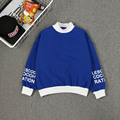 autumn and winter loose all-match Casual semi high necked sets Letter printing plus velvet long sleeved sweatshirt women